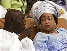 Stella Obasanjo with her husband, Nigeria's President Olusegun Obasanjo, in Oct 2005