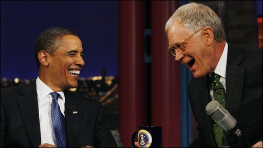 US President Barack Obama with chat show host David Letterman