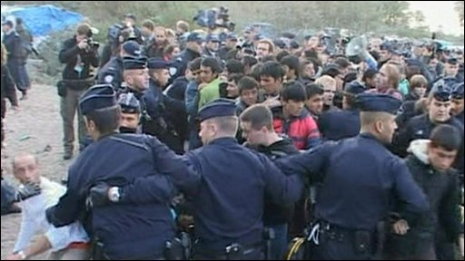 Police and protesters in the 'jungle'