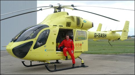 Paramedic Lee Davison with the Yorkshire Air Ambulance