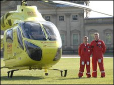 Paramedics Lee Davison and Tony Wilkes with the Yorkshire Air Ambulance