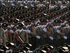 Iranian soldiers on parade