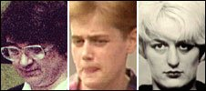 Rose West, Beverley Allitt and Myra Hindley