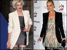 Agyness Deyn and Kate Moss in big shouldered jackets
