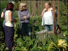 Volunteers educate the public about the virtues of organic gardening