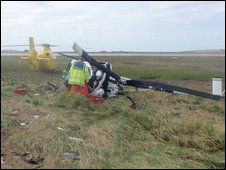 Scene of the helicopter crash at Barnaby's Sands