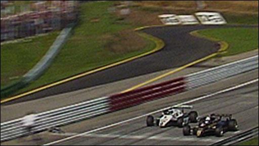 Elio de Angelis just beats Keke Rosberg