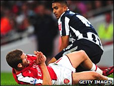 West Brom's Jerome Thomas (top) was sent off for clashing with Jack Wilshere