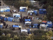 Aerial view of the migrant camp near Calais.