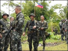Philippines soldiers after capture of Abu Sayyaf base at Indanan, Jolo island - 21 September 2009