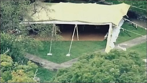 Aerial view of tent being constructed for Muammar gaddafi