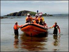 Salcombe RNLI Lifeguards and lifeboat. Pic: Nigel Millard