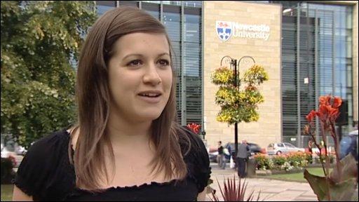 Student outside Newcastle University