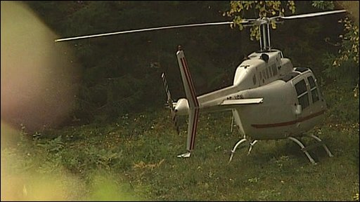 Helicopter used in raid, found in woodland