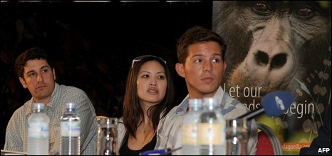 Jason Biggs, Kristy Wu and Simon Curtis in Kampala, 21/10