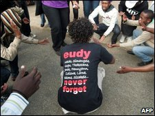 Supporters of Eudy Simelane outside court