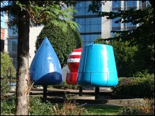 Navagational buoys at St Anne's Cathedral, Belfast