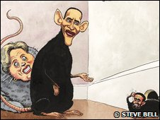 Political cartoon in The Guardian, January 2009 (Image: Steve Bell)