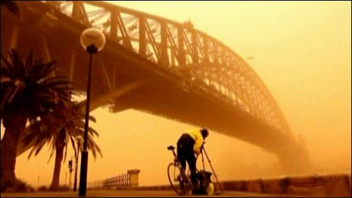 Sydney shrouded in a cloud of red dust