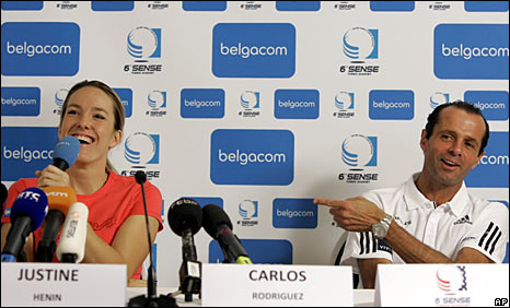 Justine Henin and her coach Carlos Rodriguez