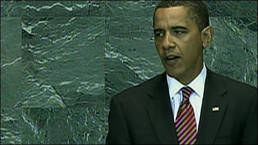 US President Barack Obama addressing the UN