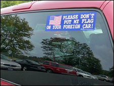 A pro-American car sticker