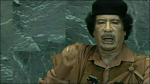 Libya's Colonel Muammar gaddafi at the UN