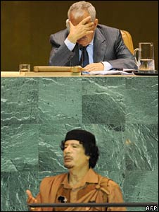 The President of the UN General Assembly, Ali Abdussalam (top), listens as Libya's Col Gaddafi speaks 