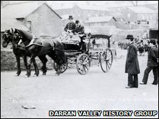 Funeral hearse following the Darran pit disaster 1909