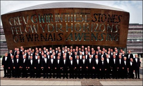 Treorchy Male Choir outside the Wales Millennium Centre