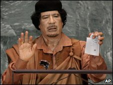 Col Gaddafi at the UN