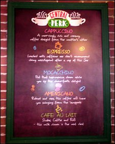 Central Perk menu board