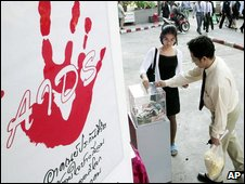 Aids awareness campaign in Bangkok in 2000
