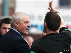 Walter Smith is sent to the stand by referee Steve Conroy