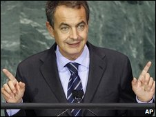 Spanish Prime Minister Jose Luis Rodriguez Zapatero adressing the UN, 24 September 2009