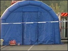 Forensic examination tent at Earl Shilton
