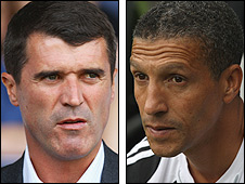 Ipswich manager Roy Keane (left) and Newcastle caretaker boss Chris Hughton