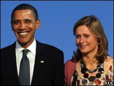 Barack Obama and Sarah Brown at the G20