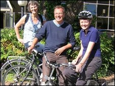 The Cycling City programme team, Christine Hall (l), Miles Warde and Sally Heaven