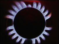 A lit gas ring