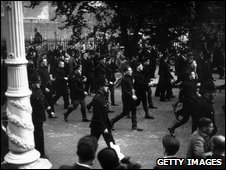 Police patrol a 1936 fascist march through London, organised by Oswald Mosley