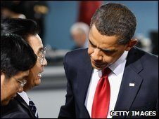 President Barack Obama in conversation with China's President Hu