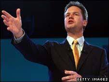 Nick Clegg giving his keynote conference speech