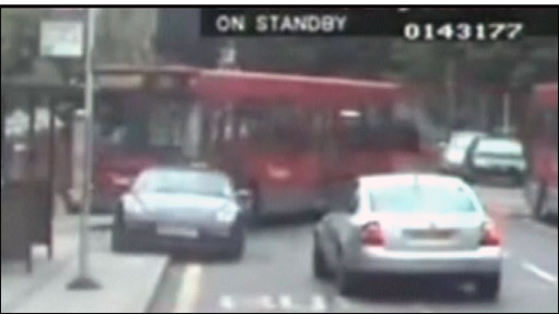 Bus hitting car