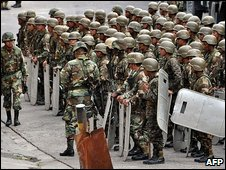 Honduran soldiers near the Brazilian embassy in Tegucigalpa, 25 September 2009