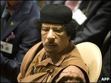 Libyan leader Muammar Gaddafi attends the United Nations General Assembly at UN Headquarters in New York (23 Sept 2009)