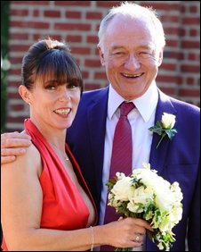 Emma Beal and Ken Livingstone at their wedding