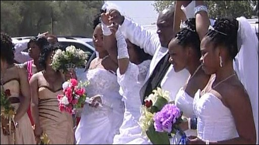 Groom and four brides