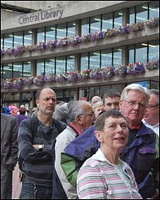 People queueing in front of Birmingham Central Library
