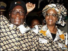 Robert and Grace Mugabe (file image)